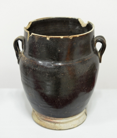 元代黑釉双系罐